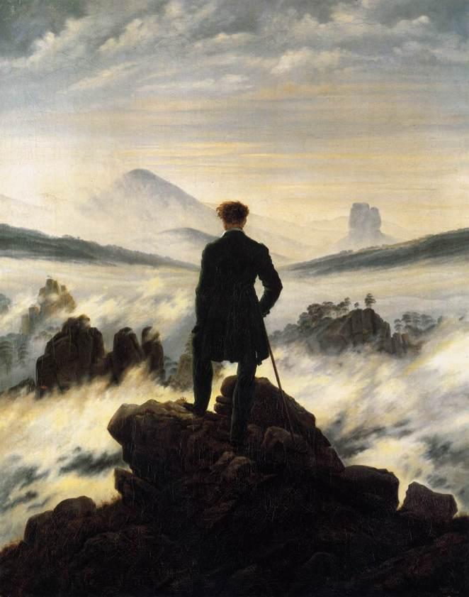 Caspar David Friedrich: Der Wanderer über dem Nebelmeer (1818, das Bild ist gemeinfrei, Download bei Wikipedia bspw.)