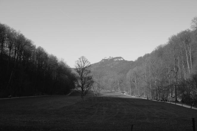 Blick von den Wasserfällen zur Burgruine Hohenurach